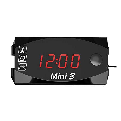 3 in 1 Orologio Elettronico per Moto Termometro Voltometro con Display Digitale A Grande Schermo, IP67 Impermeabile A Prova di Polvere, 6V-30V