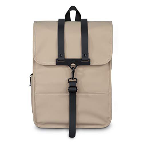 Hama Laptoprucksack 15.6 Zoll, 40 cm (Laptoptasche für Damen und Herren, leichter Rucksack aus wasserabweisendem Material, Tasche mit Tabletfach, verstellbaren Schultergurten, Trolleyband) beige