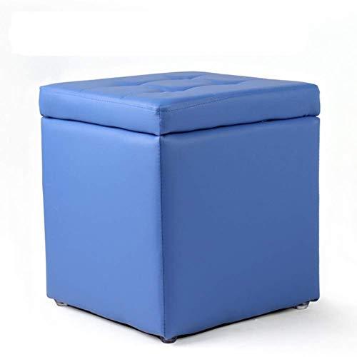 XBCDX Uare - Otomana de Almacenamiento, reposapiés copetudo de Colores Dulces con Tapa abatible, Bonito reposapiés Acolchado para Asiento, Piel sintética, Azul 30x30x35cm (12x12x14 Pulgadas)