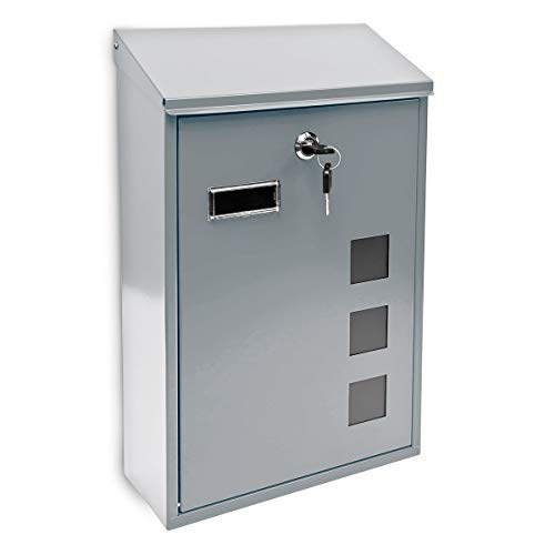Relaxdays 10017417_S Silber Design Briefkasten aus Metall 25x40 cm