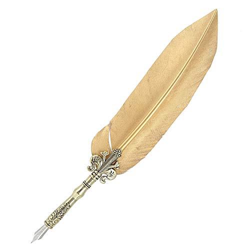 Bediffer Pluma de pluma de nailon de 1 mm y herramienta de escritura de metal para estudiantes (oro cortado)