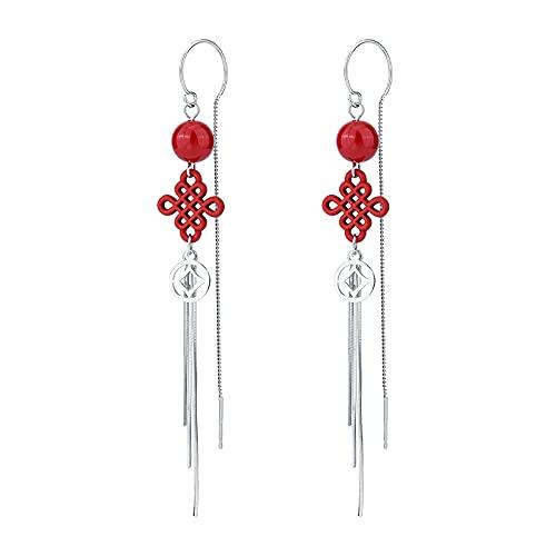 Pendientes De Perlas Vintage Plata De Ley 925 Con Perlas Rojas Festivas Pendientes Largos Con Nudo Chino