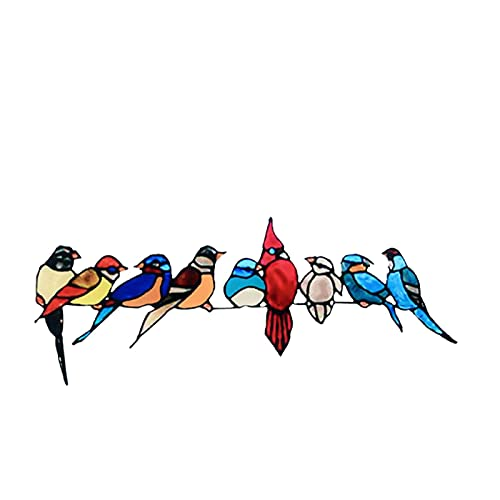 Birds Wall Decals Multicolor Birds Wall Decal Garden Birds On Branches Wall Stickers Animals Stickers Decorative Paper Murals for Window Living Room Office Nursery Kids Bedroom Wall Art Decor