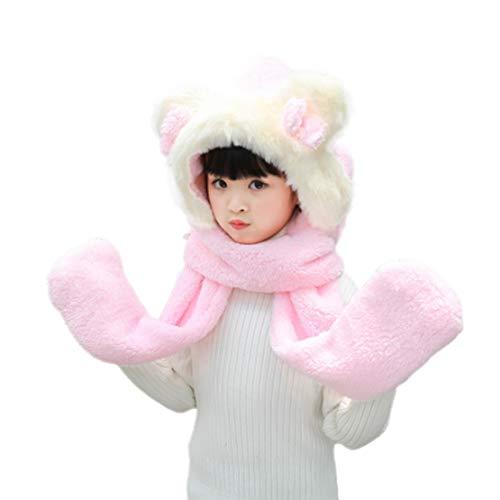 HIOD Gorro de Invierno Niñas Niños Sombreros - Sombrero Bufanda Guantes 3 en 1, Suave Cómodo para 90-135 Altura Niño,Pink