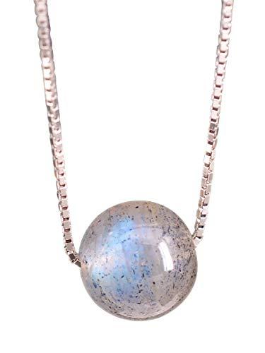 NicoWerk Damen Silberkette mit Anhänger Kugel aus 925 Sterling Silber Ball Rund Mondstein Stein Edelstein Venezianerkette SKE284