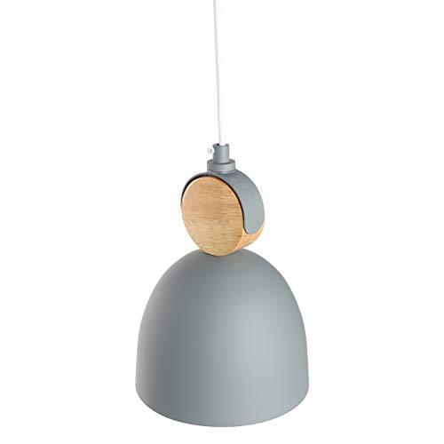 E27 Metallo Legno Lampadario Lampada a Sospensione Moderno Plafoniera in Metallo Scandinavo Stile Lampada a Sospensione (Grigio)