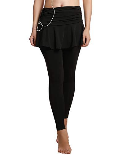 UDIY Skirted Leggings - Women's Running Skirts Casual Gym Tennis Skort with Leggings