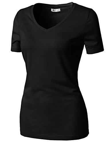 H2H Women's Sexy Tight Front Button Tee Shirt Cotton Blend Tunic Tops Short Sleeves Black US 2XL/Asia 2XL (CWTTS0151)