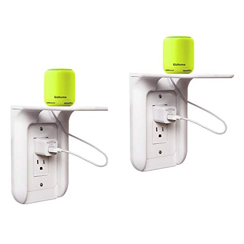 Gizhome 2 Pack Wall Outlet Shelf Power Perch, Works with Standard Vertical Duplex/Decor Outlets, Charging Shelf for Devices Up to 7lbs, Easy Installation, White