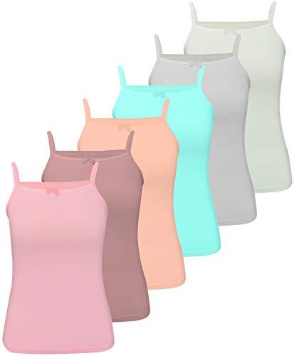 LOREZA ® 6 Stück Mädchen Baumwolle Unterhemden (140-146 (10-11Jahre), 6er Pack)