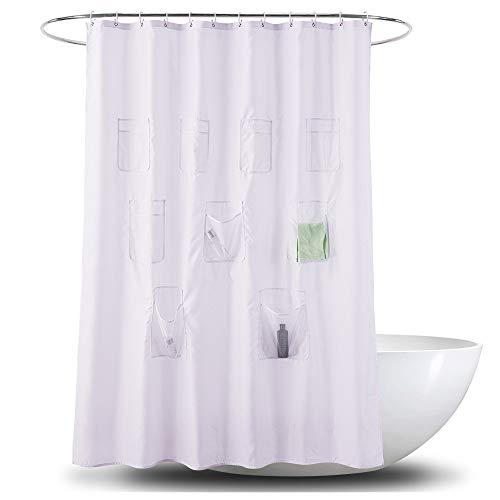 Nerioya Weißer Polyester-wasserdichter Duschvorhang Korrosionsschutz-antibakterielle Datenschutz Badvorhang mit Mesh-Taschen 12pcs Kunststoffhaken
