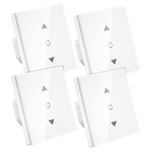 Interruptor Persianas WiFi, Maxcio Persiana WiFi Control por Porcentaje de APP Y Voz Compatible con Alexa y Google Home, con Temporizador para Motor Persiana Tublar, 4 packs