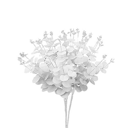 INFILM 3 tallos artificiales de eucalipto de color negro/blanco, 24 pulgadas, plantas de seda falsas europeas de imitación de tacto real, ramas de flores para decoración del hogar de boda
