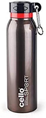 Cello Beatle Stainless Steel Sports Bottle,1 Litre,Black