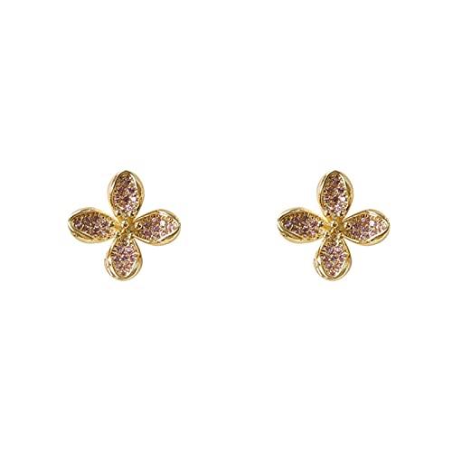 DHDHWL Pendientes de diamantes con forma de flor y temperamento para mujer, pequeños pendientes de plata S925 con aguja de plata de gama alta (color: D)
