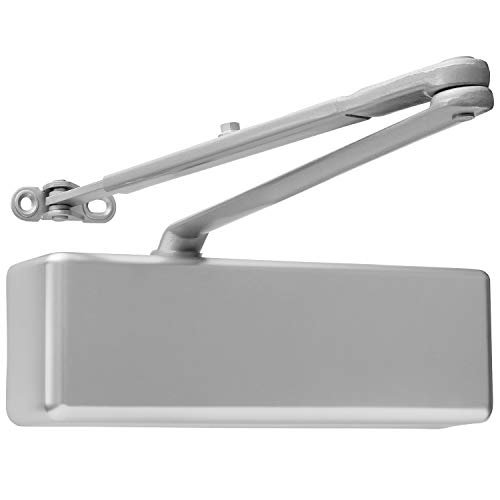 Door Closer Commercial Adjustable 1-6 Power Delayed Close Backcheck Latch Speed Powerful Cast Iron Construction Door Closer Tested to 10 Million Cycles Aluminum Finish LH8016