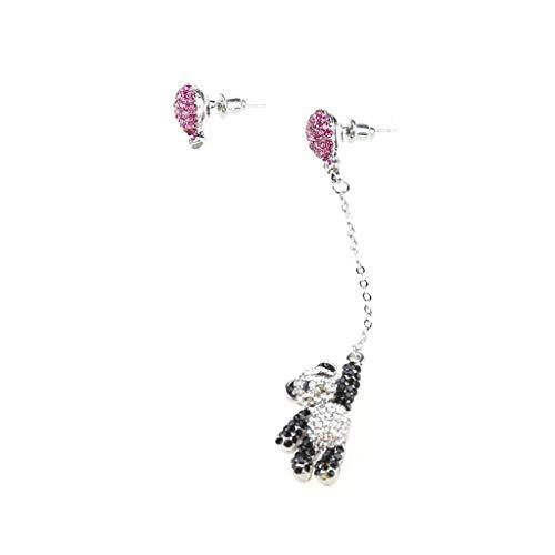 JIACUO Onregelmatige schattige zwarte witte beer roze ballon oorbellen kwast dangle oorbellen