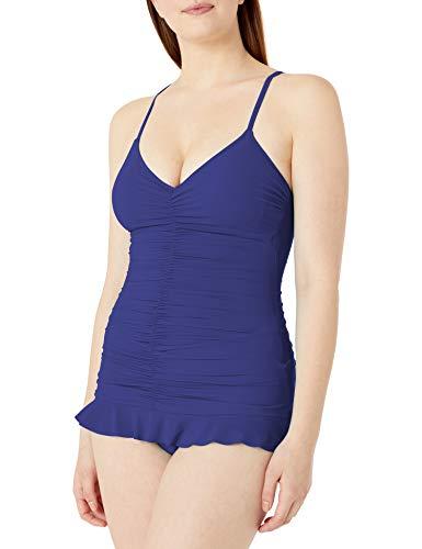 Profile by Gottex Women's Center Gathering V-Neck Swimdress One Piece Swimsuit, Swan Lake Ink, 8