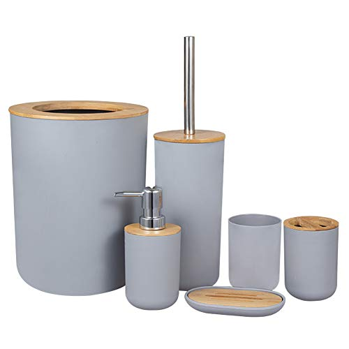 Accesorios de baño Set portacepillos de dientes de bambú, encimera de madera, dispensador de jabón, taza, cocina, cepillo de baño, salón, papelera, ahorro de espacio, ducha, casa, hotel, plata)
