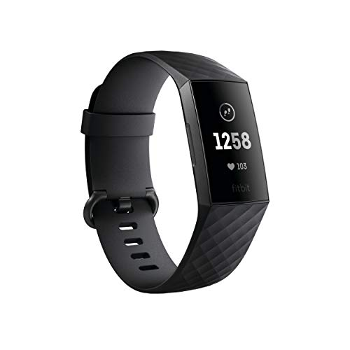 Fitbit Charge 3 Fitness Activity Tracker, Graphite/Black, One Size (S...