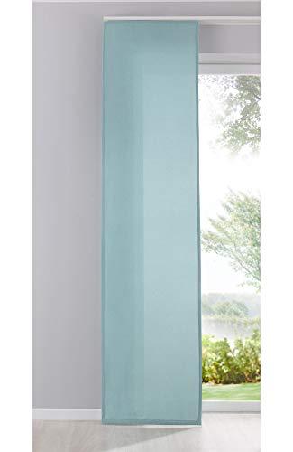 Gardinenbox Flächenvorhang Schiebegardine Cationic Blickdicht Leinen Optik Natura seidenmatt, HxB 245x60 cm, Aqua Landhaus Stil, 204411
