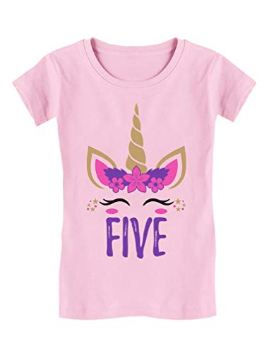 Gift for 5 Year Old Girl Unicorn 5th Birthday Toddler Kids Girls' Fitted T-Shirt S (5-6) Pink