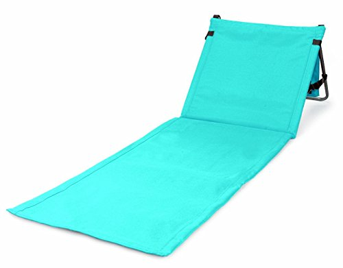 Bo-Toys Portable Beach Mat Lounge Chair and Tote (Plain Blue)