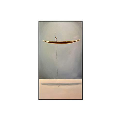 RHWXAX Abstracto Chino Pinturas de Lona Paisaje Natural Pinturas de Bote de Oro y Carteles Imágenes de Arte de Pared para la decoración del hogar 20x40in Sin Marco