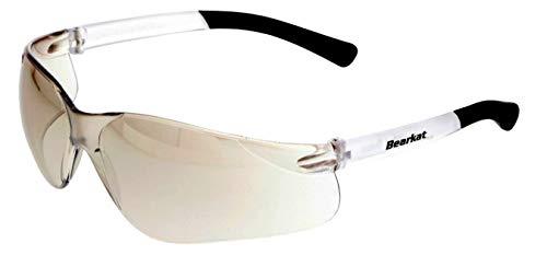 KLEINE BEARKAT ES Spiegel Weiß Sonnenbrille Damen Herren mit Kleine Schmale Gesichter, 100% UV-A/B stoßfest verspiegelt Weiß sportbrille Linsen