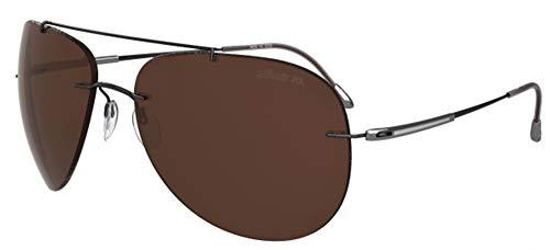 Silhouette Gafas de Sol ADVENTURER 8667 BLACK DARK SILVER/BROWN POLARIZED talla única hombre