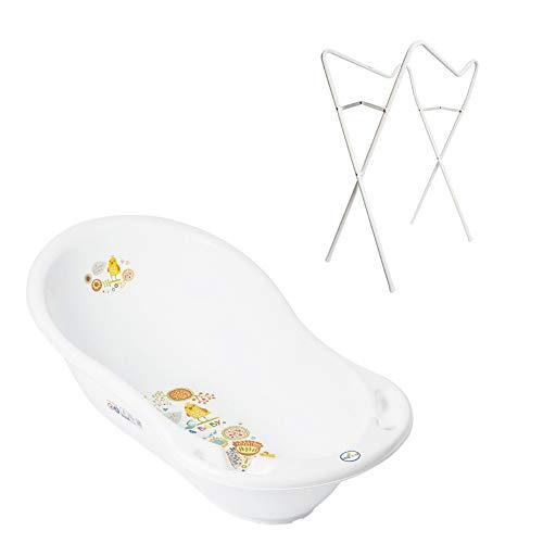 Gestell + Badewanne mit Stöpsel Tega Badewannengestell Ideal im Set (Folk WEIß)