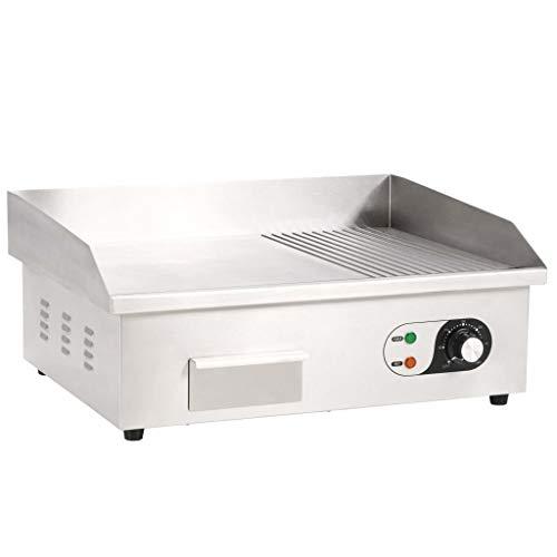 Festnight- Elektrische Grillplatte aus Edelstahl Elektrogrill 3000 W Temperaturregler Öl-Spritzschutz Flach Grill-Oberfläche 54 x 41 x 24 cm