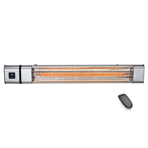 JIEZ Wall Mounted Infrared Radiant Heater, Patio Electric Heater for Outdoor Garden, 2400W, IP65 Waterproof, 9 Hours Timer,3 Power Settings