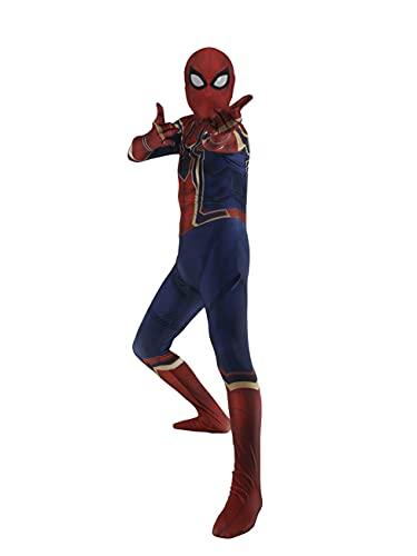 CXYGZLJ Niños Adultos El Regreso del héroe Hierro Spiderman Homecoming Cos Body, máscara de Spiderman Vestido de Lujo Disfraz de Vestido Masquerade Cumpleaños Halloween,Blue-Kids S
