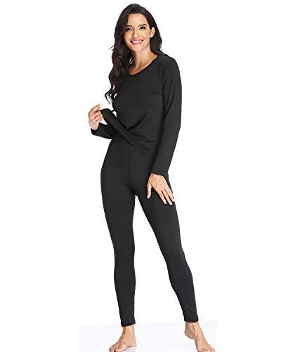 Women's Thermal Underwear Set, Fleece Lined Long Johns Set Base Layer Top & Bottom Lightweight Ultra Soft Black