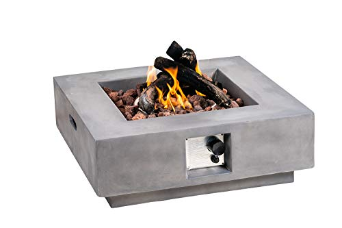 SIUSUMFO Fire Pit Table Propane Outdoor Square,50000 BTU 30-inch Durable Grey Concrete Firepit for Patio Backyard Lawn Barbecue Pool, Free Lava Rocks and Auto-Ignition 20 Gal/LB