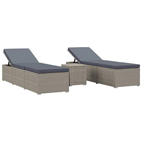vidaXL Sonnenliegen Set 3-TLG. Gartenliege Sonnenliege Liegestuhl Liege Saunaliege Relaxliege Beistelltisch Gartenmöbel Poly Rattan Grau