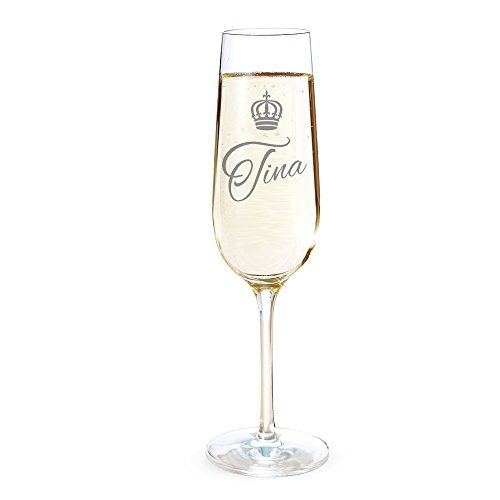 AMAVEL Sektglas mit Gravur, Royal, Personalisiert mit Namen, Individuelle Sektflöte, Sektkelch