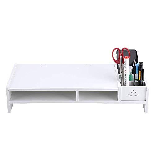 Shelf Computer Monitor Riser Laptop PC Stand Home Office Desktop Table Storage Organizer Shelf, White Shelf Brackets