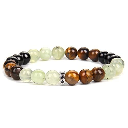 8 mm Natural Tiger Eye Stone Bracelets Men CZ Charm Bangle Polished Healing Energy Labradorite Beads Bracelet Women Stretch Jewe