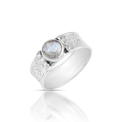 Natural Rainbow Moonstone 925 Sterling Silver Cocktail Ring for Women Fashion Jewelry Sz-O