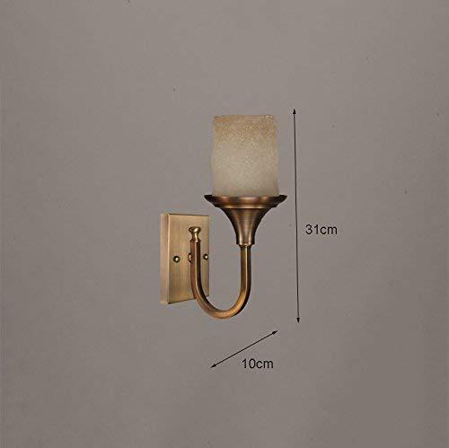 noulerd Self-Stallation Retro Corridor Antique Applique Murale en Cuivre Une Lampe de Chevet Chambre Livg Salle de Bains Applique Murale, E27 Simple Tête 10-39Cm Maison Toilette Balcon Lumières Decor