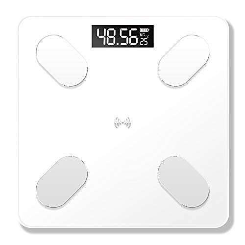 HX0945 Körpergewicht Badezimmerwaagen Boden Scientific Smart Electronic Digital-Gewicht Körperfett Gesundheit Gleichgewicht Bluetooth APP-Skala (26,0 * 26.0Cm),Weiß