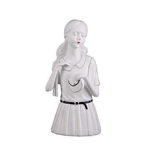 DAJIADS Figurine,Statue,Statuette,Sculture,Moderno Stile Nordico di Temperamento Dea Ragazza Figurine Carino Figura Statua per Soggiorno Home Soft Decorazione TV Arredi Armadio,Bianco