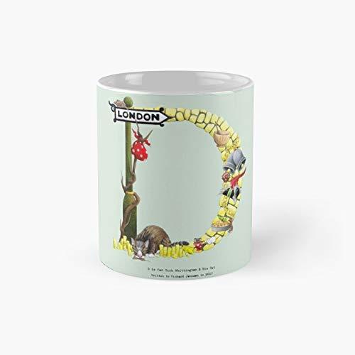 Letra D is for Dick Whittington and His Cat Alphabet – Taza clásica de Londres, el mejor regalo divertidas tazas de café de 11 onzas