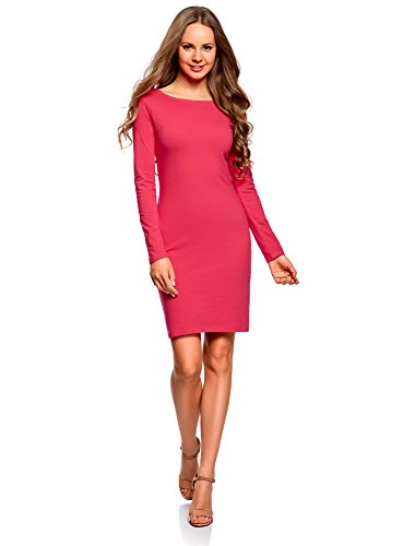 oodji Ultra Damen Enges Kleid Basic, Rosa, DE 34 / EU 36 / XS