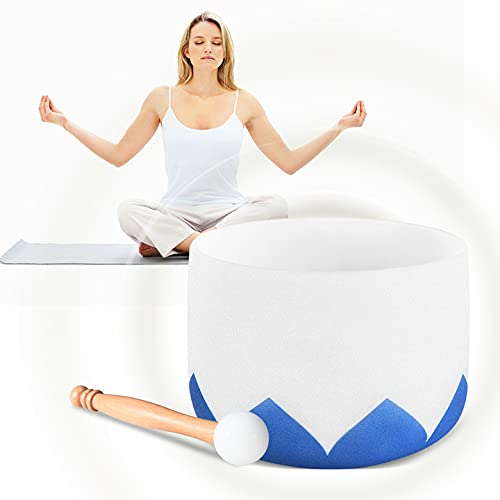 TTLIFE - Cuenco para cantar (25 cm) con un mazo de goma y un paquete, regalo espiritual para curación de sonido y meditación de yoga