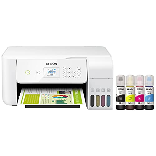"""Epson EcoTank ET Series Wireless Color Inkjet All-in-One Supertank Printer for Home Office - White - Print Scan Copy - Voice Activated, 10.5 ppm, 5760 x 1440 dpi, 1.44"""" LCD, Ethernet, Borderless Print"""