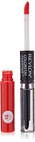 Revlon ColorStay Overtime Lipcolor, Dual Ended Longwearing Liquid Lipstick with Clear Lip Gloss, with Vitamin E in Red/Coral, Cherry Time (580), 0.07 oz