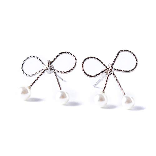 CAIRLEE Cute Hollow Earrings Black Small Bow Pearl Earrings Accessories For Women Girl